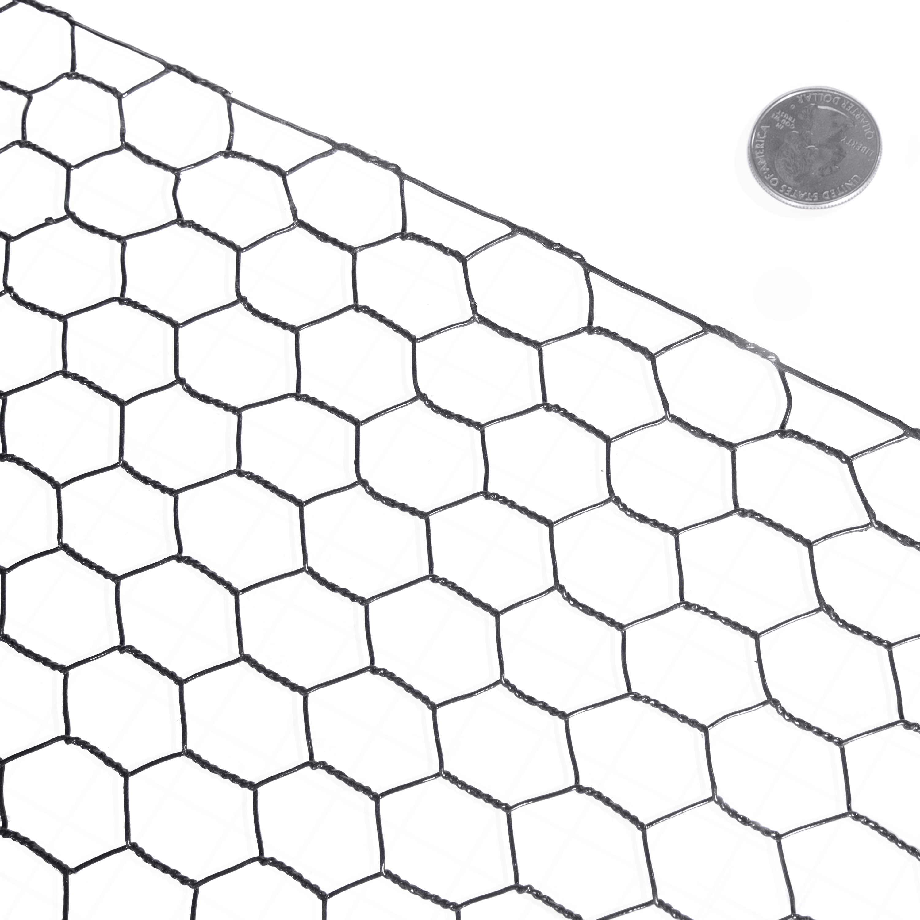 "Fencer Wire 16 Gauge Black Vinyl Coated Hex / Poultry Netting Mesh 1.5"" (4 ft. x 150 ft.)"