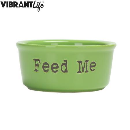 vibrant life ceramic feed me pet bowl green small. Black Bedroom Furniture Sets. Home Design Ideas