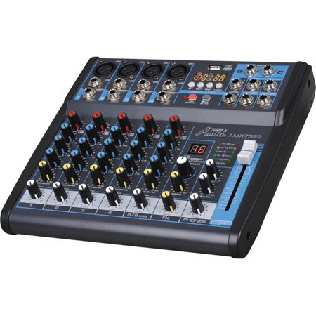 Audio2000'S AMX7322- Professional Six-Channel Audio Mixer with USB Interface, Bluetooth, and DSP Sound