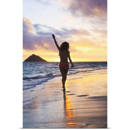 Great Big Canvas Tomas Del Amo Poster Print Entitled Hawaii  Oahu  Kailua  Lanikai  Silhouette Of A Woman Walking Along The Beach At