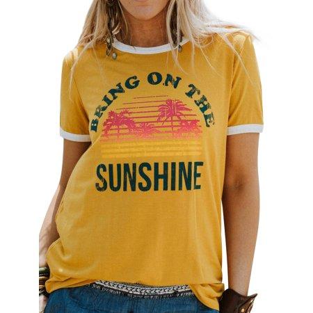 Nlife Women's Sunshine Letter Print Short Sleeve T-shirt ()