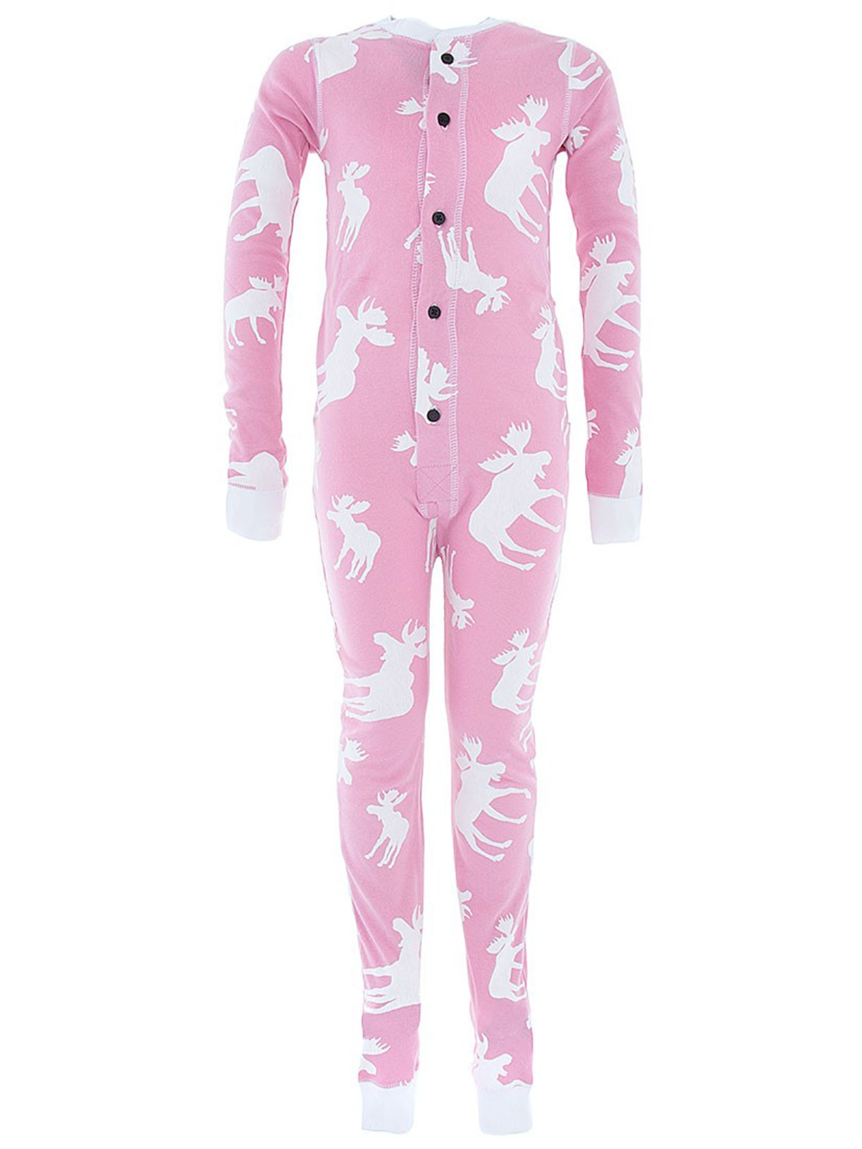 Lazy One Pink Don't Moose with Me Union Suit for Kids