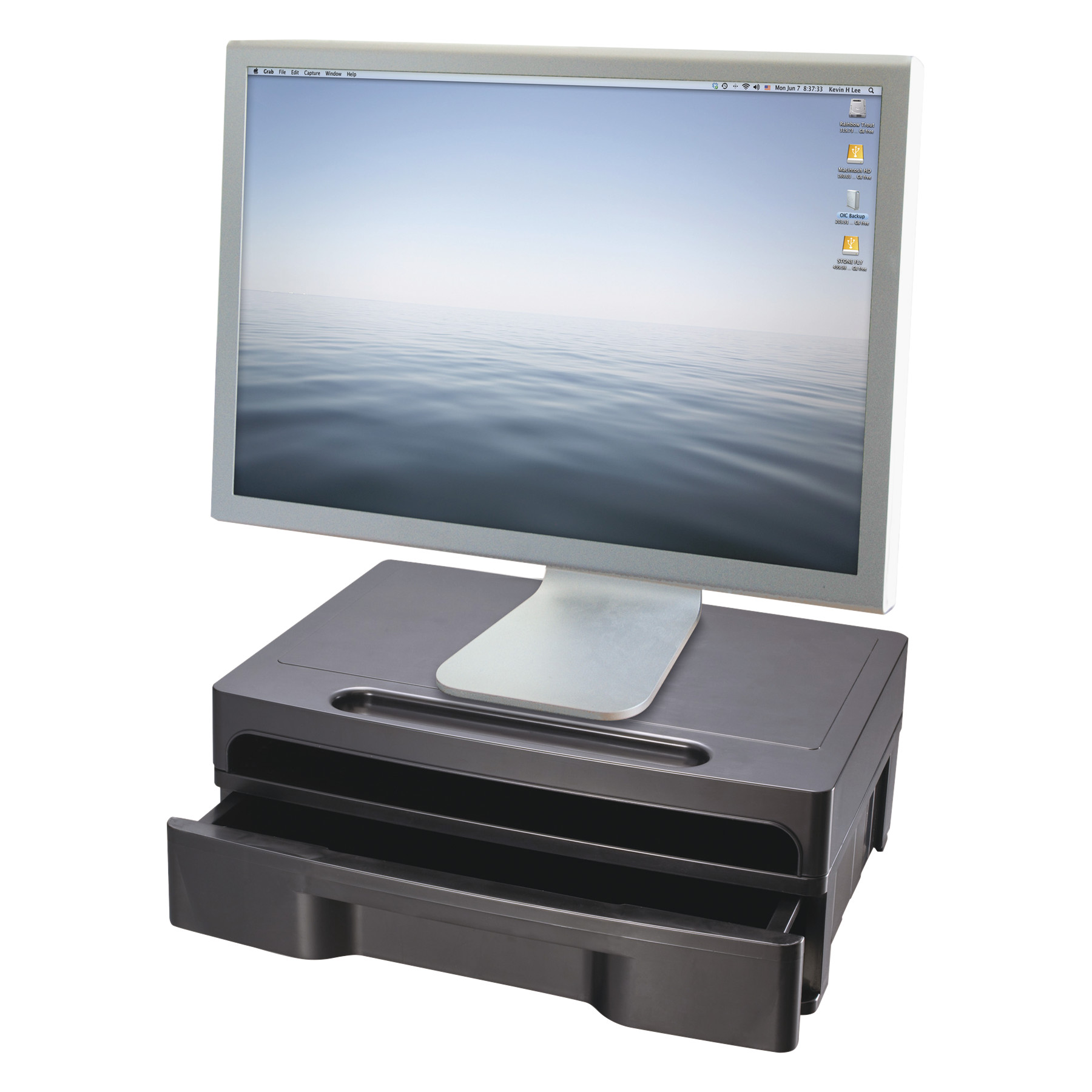 Officemate Monitor Stand with Drawer, 13 1/8 x 9 7/8 x 5, Black