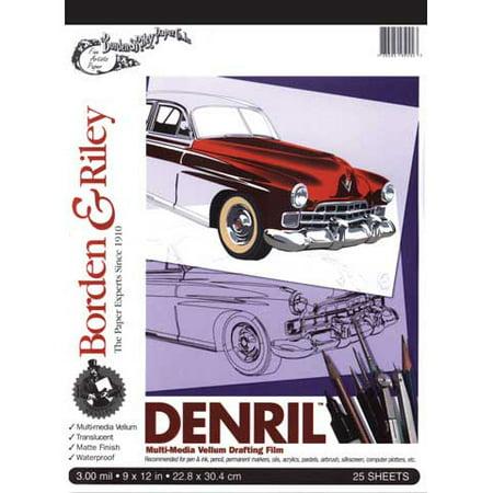 """Borden & Riley - Denril Multi-Media Vellum Drafting Film Pad - 9"""" x 12"""""""