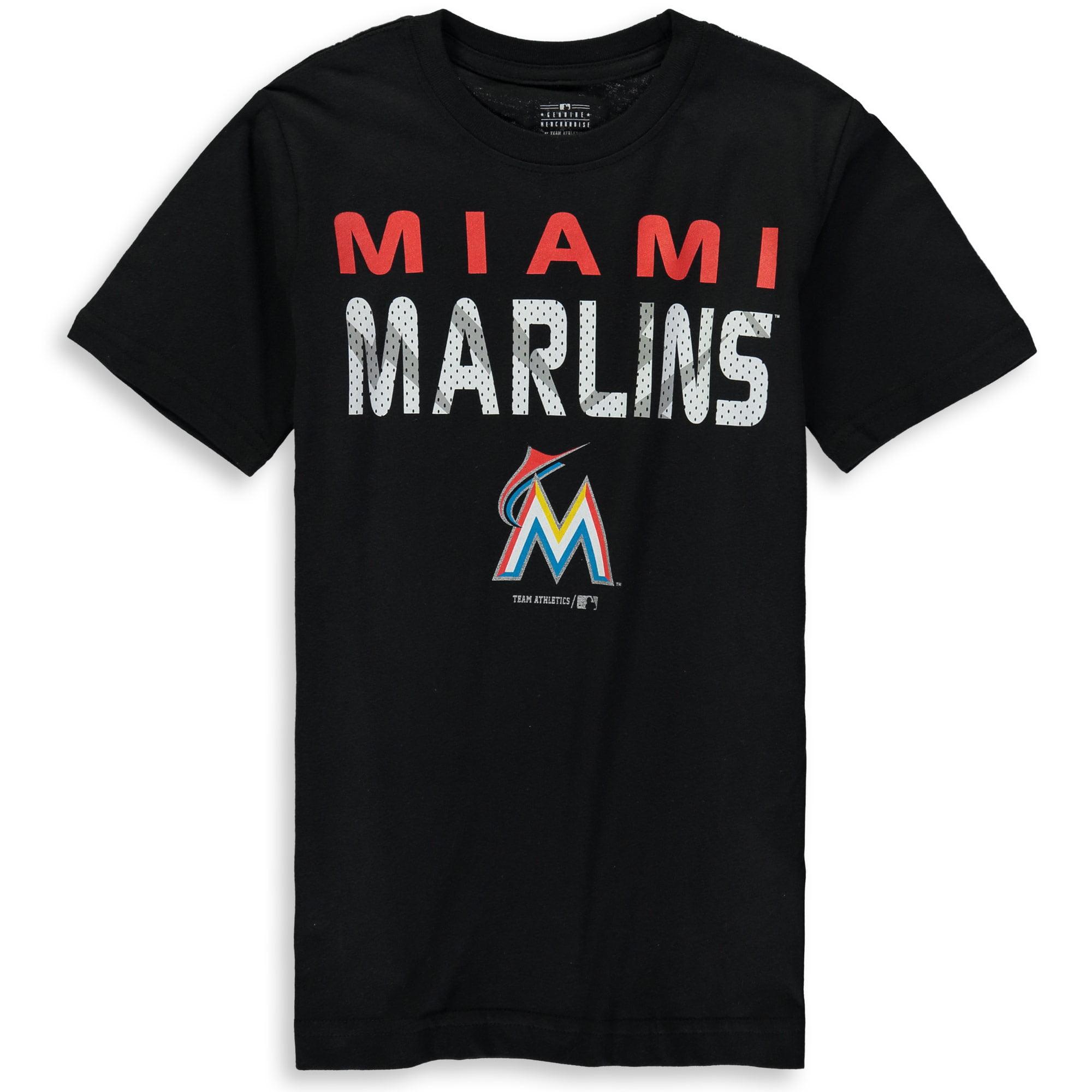 MLB Miami MARLINS TEE Short Sleeve Boys Team Name and LOGO 100% Cotton Team Color 4-18