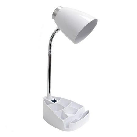 Limelights Organizer Gooseneck Desk Lamp with Tablet Stand for Dorm Room, White