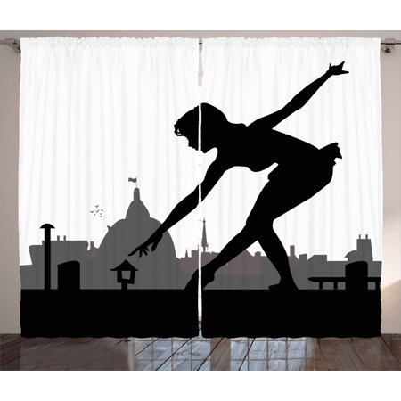 Ballet Curtains 2 Panels Set, Silhouette of Little Ballerina Girl Dancing on the Roof Top, Window Drapes for Living Room Bedroom, 108W X 96L Inches, Black Charcoal Grey and Dimgray,