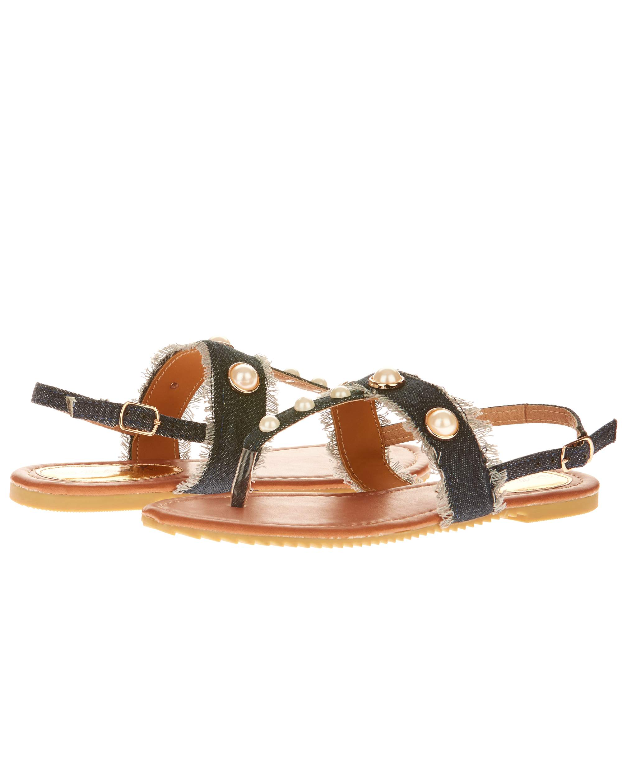 Victoria K Women's Denim and Pearls Sandals