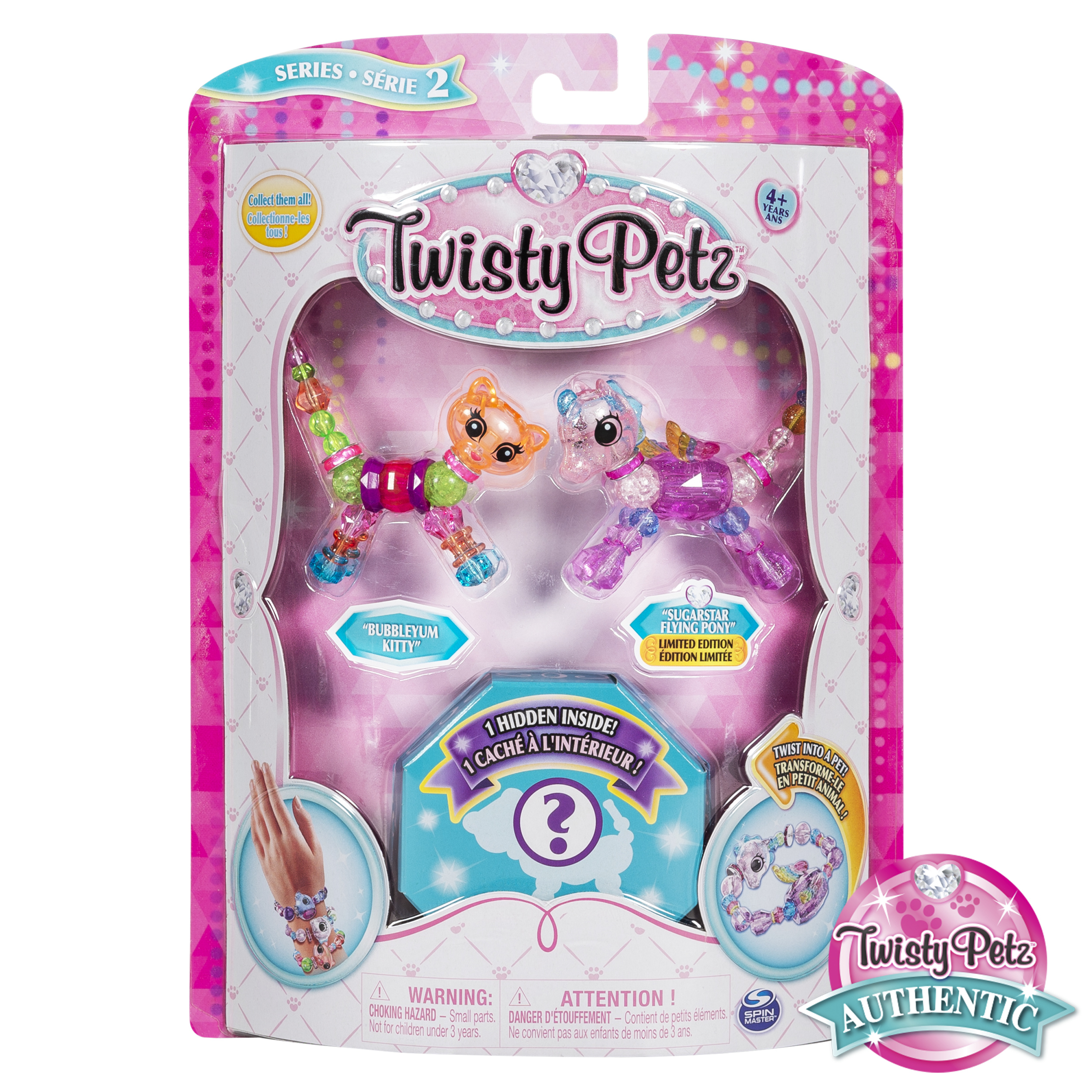 Twisty Petz, Series 2 3-Pack, Bubblegum Kitty, Sugarstar Flying Pony and Surprise Collectible Bracelet Set for Kids
