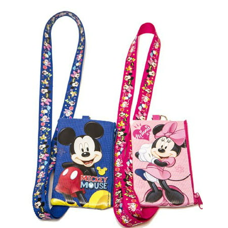 Craft Beaded Coin Purse - Disney Set of 2 Mickey and Minnie Mouse Lanyards with Detachable Coin Purse by n/a