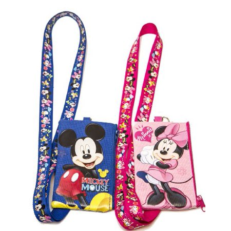 Disney Set of 2 Mickey and Minnie Mouse Lanyards with Detachable Coin Purse by (Microfiber Coin Purse)