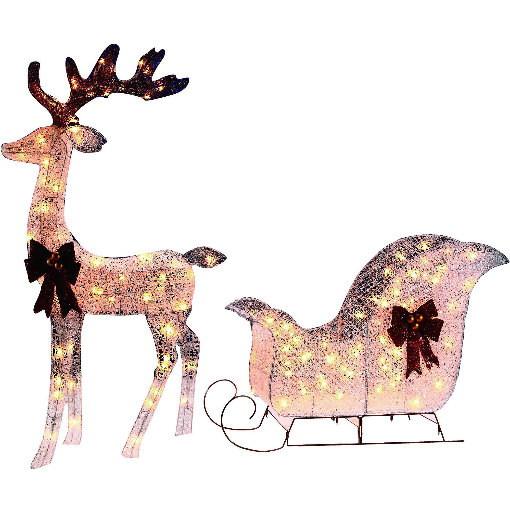 holiday time 52 deer and 38 sleigh light sculpture walmartcom - Walmart Christmas Yard Decorations