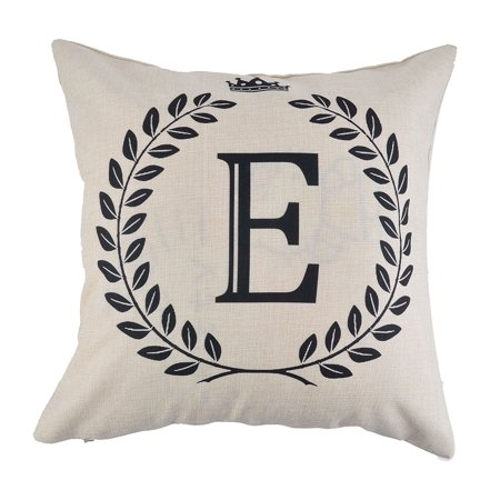 Home Cotton Linen Letter E Pattern Zippered Pillow Cushion Cover 18 x 18 (Cotton Letter)