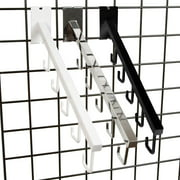 """5 J Hook Gridwall Waterfall - 18"""" L Square Tube Faceout Hook for Grid Panels - Chrome - 1 Unit"""