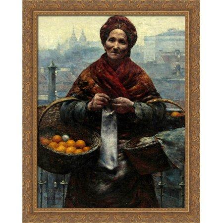 Jewish woman selling oranges 28x34 Large Gold Ornate Wood Framed Canvas Art by Aleksander