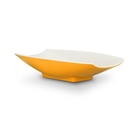 - 21 x 12 1/8 x 4 1/4 Melamine Curves Bowl Yellow Outside / White Inside, Case Of 3