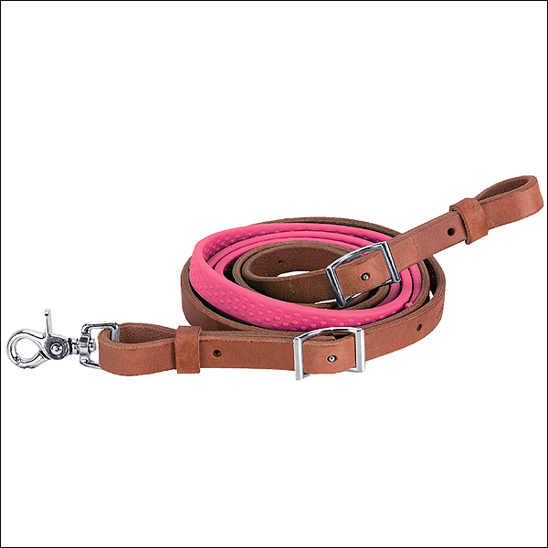PINK 8ft WEAVER LEATHER BARREL PLEASURE REIN WITH RUBBER GRIP HORSE ROPING