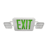 NICOR Lighting LED Emergency Exit Sign with Dual Adjustable LED Heads, White with Green Lettering (ECL1-10-UNV-WH-G-2)