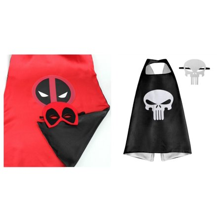 Deadpool & Punisher Costumes - 2 Capes, 2 Masks with Gift Box by Superheroes