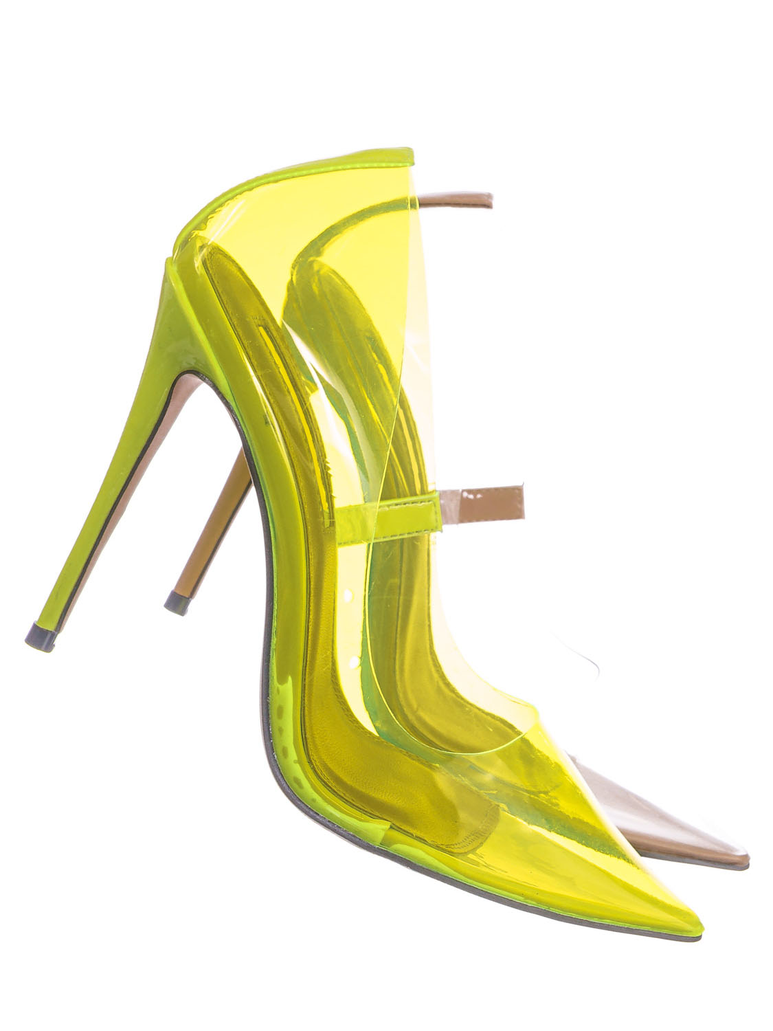 Clear PVC Transparent High Heels Lucite Ankle Strap Open Toe Wedges Neon Yellow