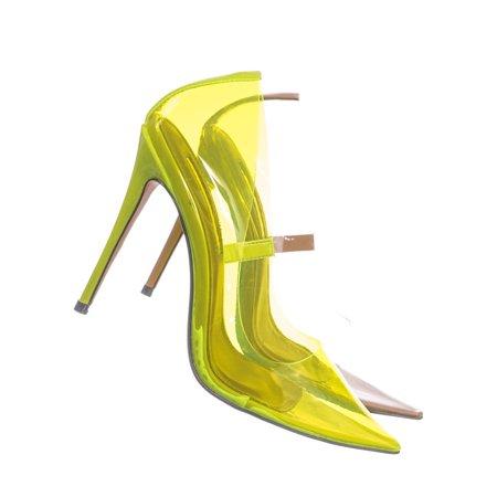 Kimye1 by Liliana, Lucite Clear High Heel Dress Pump - Women Neon Pointed Toe Stiletto