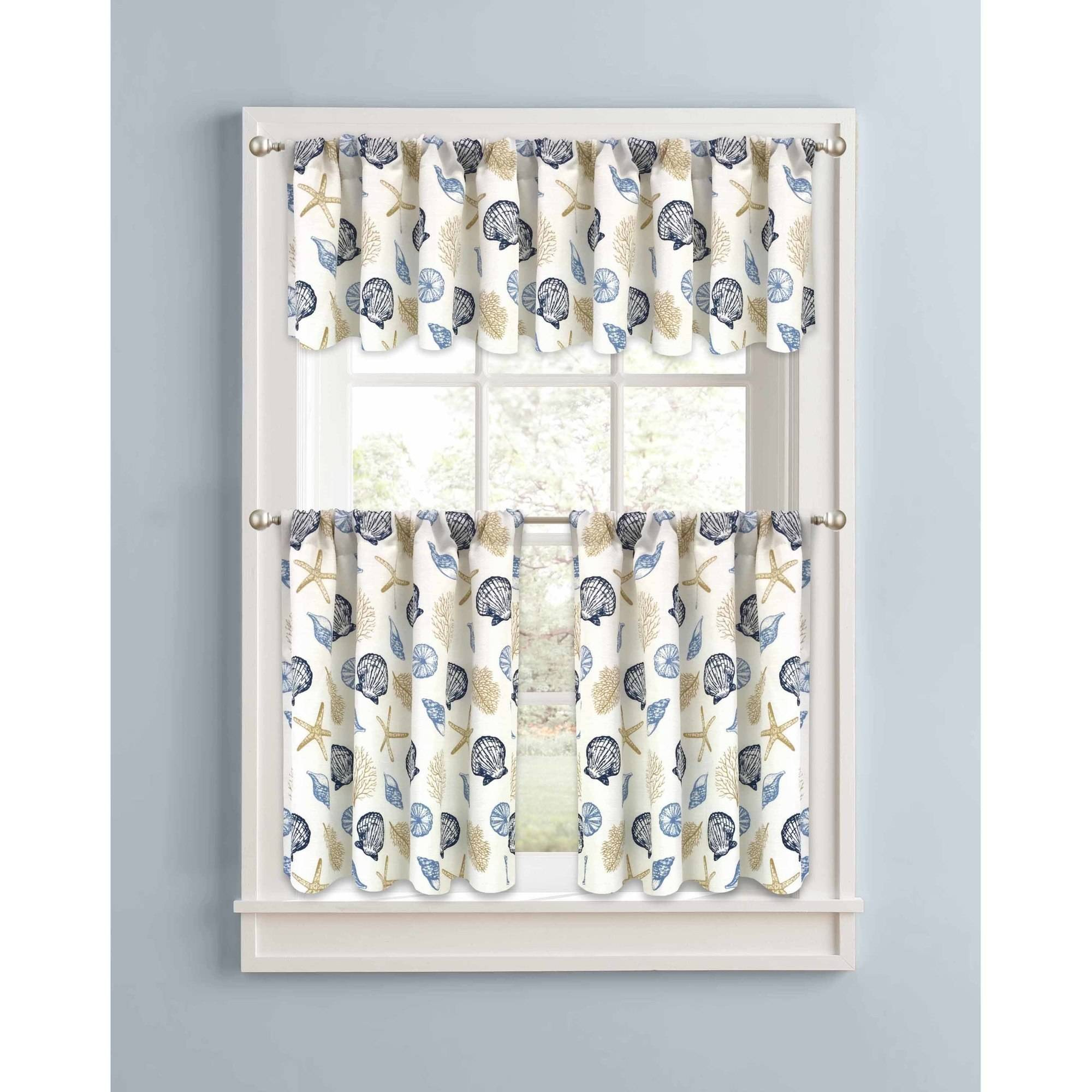 Better Homes and Gardens Blue Seashells Kitchen Curtains, Set of 2 or Valance by Colordrift LLC