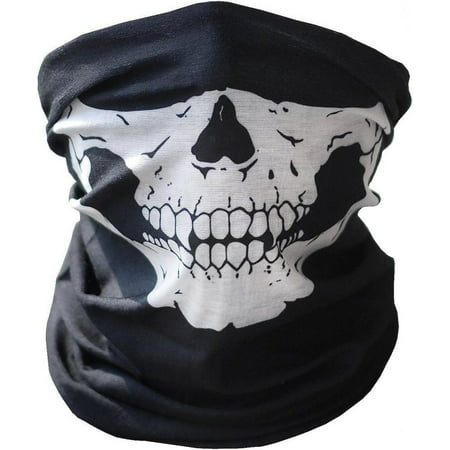 Dilwe Motorcycle Face Masks,Motorcycle Face Mask Skull Mask Half Face for Out Riding Motorcycle Black Motorcycle Snowboard Cycling Hiking Perfect Halloween Mask Outdoor Face Mask