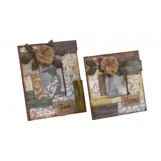 Woodland Imports 2 Piece Floral Abstract Patterned Wood Picture Frame Set by Woodland Imports