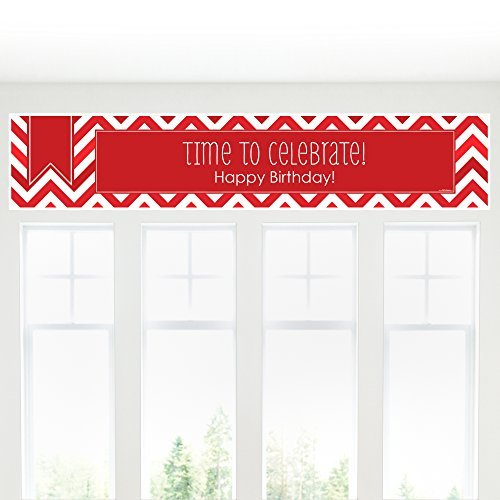 Chevron Red - Party Decorations - Birthday Party Banner