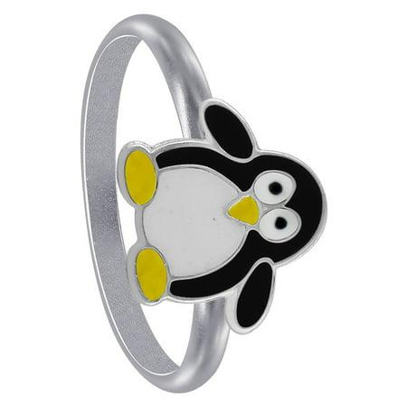 Gem Avenue Penguin Shape 925 Sterling Silver Black Enamel Kids Ring