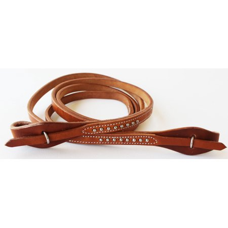 Oiled Harness Leather Reins (Horse  Western Amish Made Harness Leather Quick Change Single Reins Brass 66RT14 )