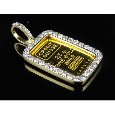 24K Yellow Gold Fine Gold 2 5 G  9999 Credit Suisse Diamond Pendant 1 5Ct
