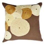 Dark Brown Cotton Jute Dori Embroidered Throw Pillow