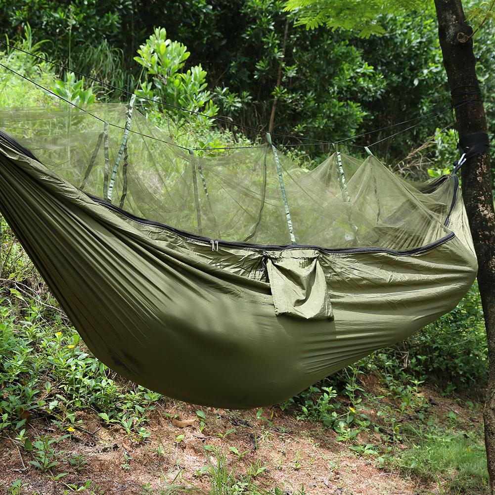 Qiilu Camping Hammock With Mosquito Net Two Persons Camping Tent Hanging Sleep Hammock Bed Military Grade Parachute... by