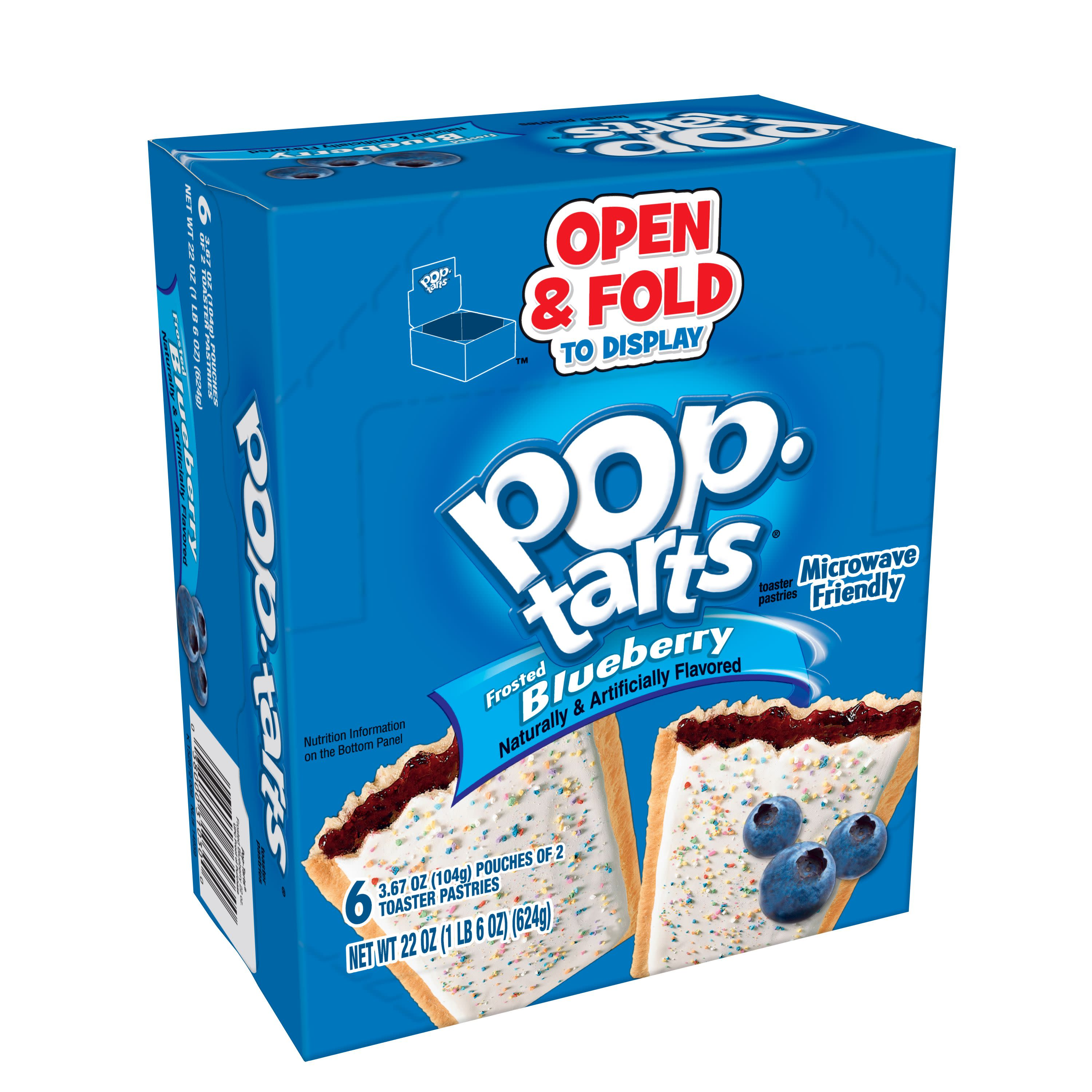 Kellogg's Pop-Tarts BreakfastToaster Pastries, Frosted Blueberry Flavored, 22 oz 12 Ct