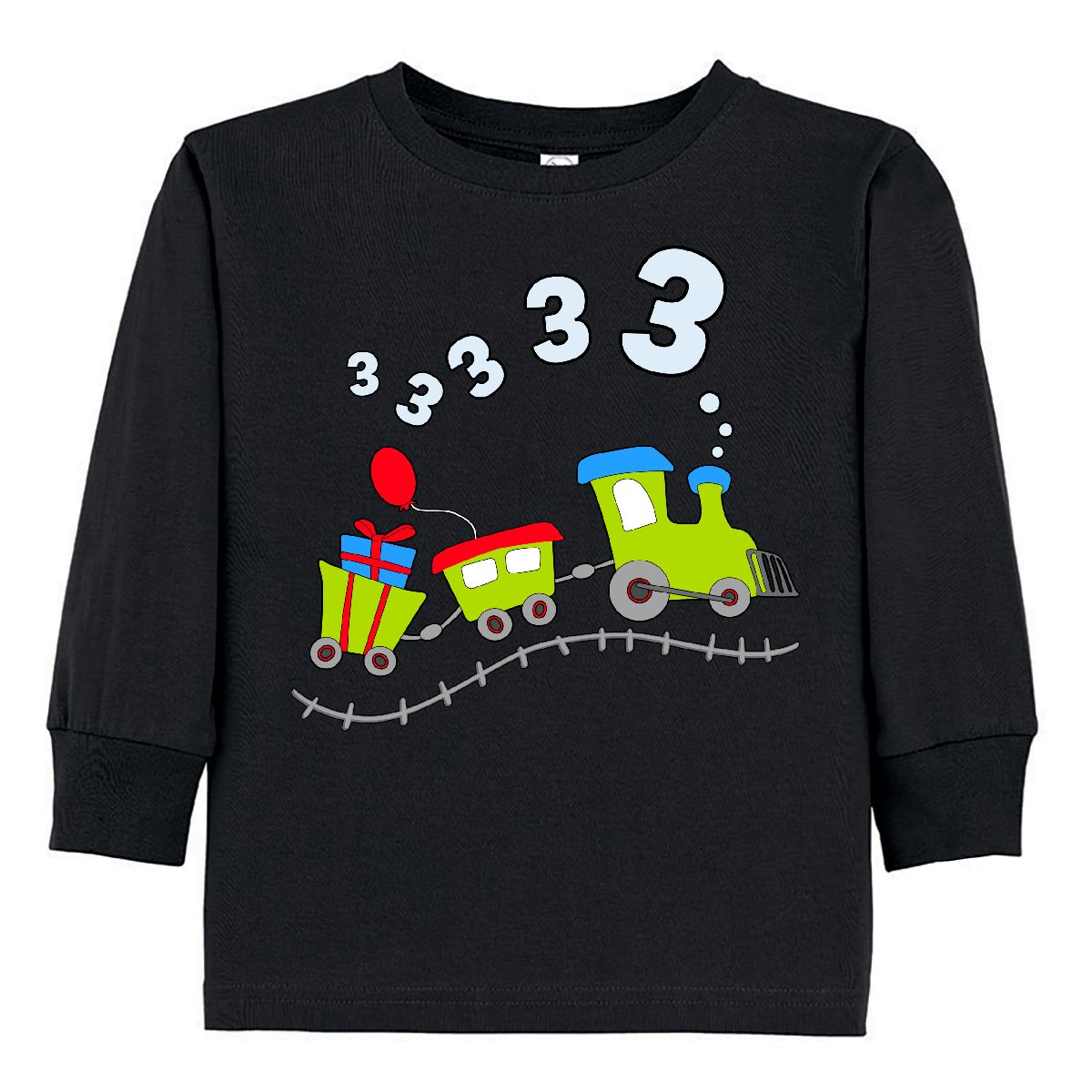 Inktastic 3rd Birthday Party Train Toddler Long Sleeve T-Shirt Birthdays Third