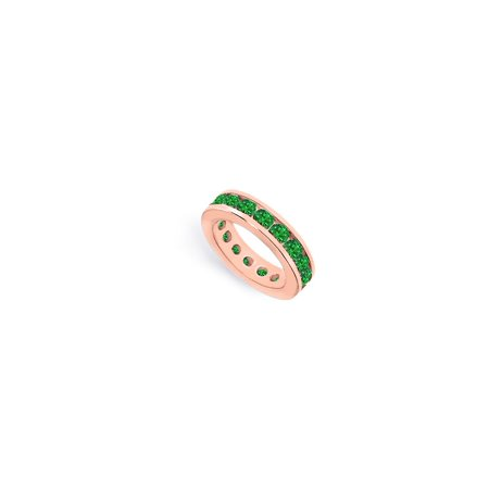 Created Emerald Eternity Ring Stackable Band 14K Rose Gold Vermeil 5ct (14k Vermeil Ring)