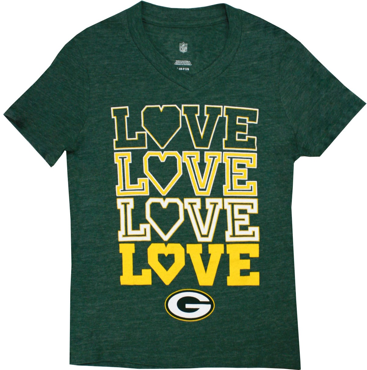 Green Bay Packers Love Little Girls' Green Shirt