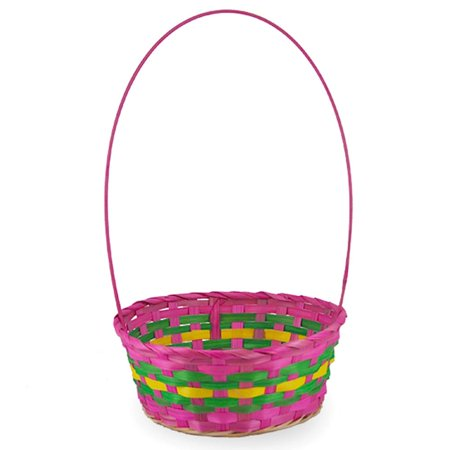 Woven Colorful Round Pink Easter Basket 15.5 Inches - Baseball Easter Basket