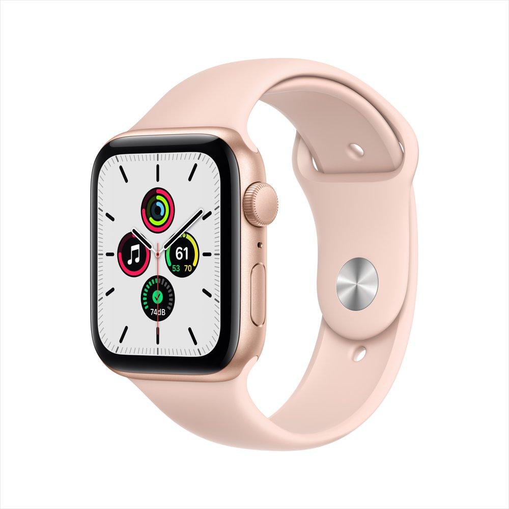 Apple Watch SE GPS, 44mm Gold Aluminum Case with Pink Sand Sport Band - Regular