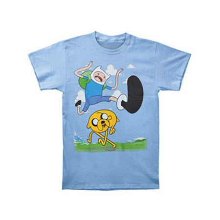 Adventure Time Men's Finn Kick Jump T-shirt Blue