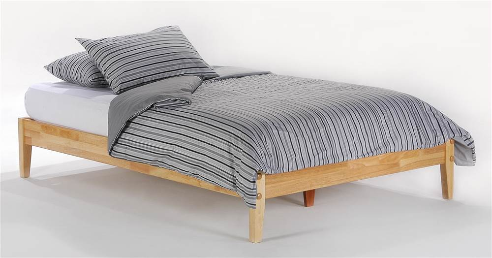 Wood Platform Bed Frame In Natural Finish w Tapered Legs Twin