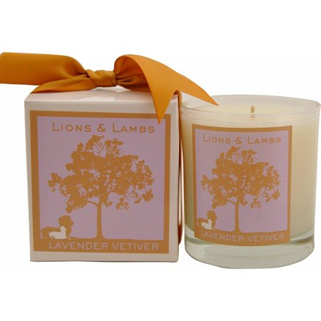 aroma paws lions and lambs candle, 12-ounce, lavender vetiver