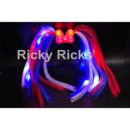 (Set of 12) 4th of July Flashing Headbands Light Up Bows Crazy Noodle Hair Party Rave Wear Costume Flashing Favors (4th Of July Party Favors)