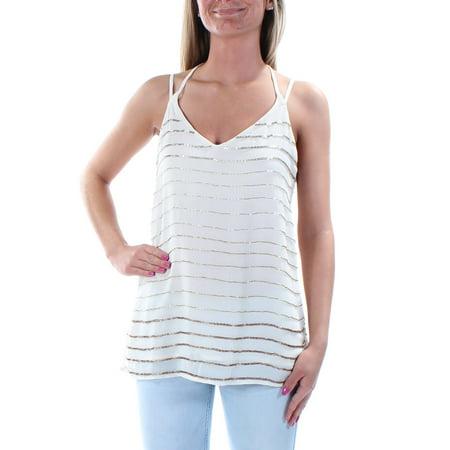Beaded Strip - BAR III Womens Ivory Beaded Spaghetti Strap V Neck Top  Size: XS