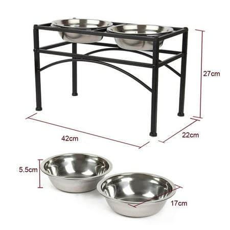 Elevated Dog Feeder (Elevated Dog & Cat Feeder - Double Bowl Raised Stand + Extra Two Stainless Steel Bowls, Washable - Perfect for Water, Food or Treats )