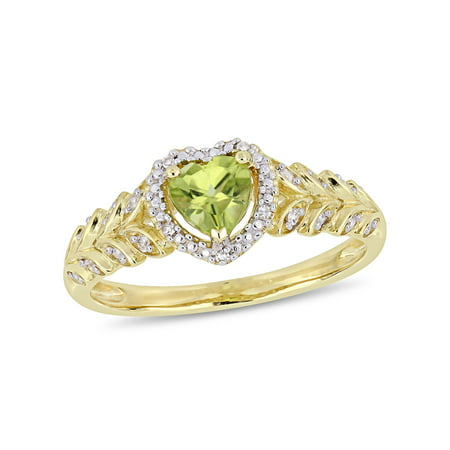 1/2 Carat T.G.W. Peridot and Diamond-Accent 10kt Yellow Gold Heart Halo Ring