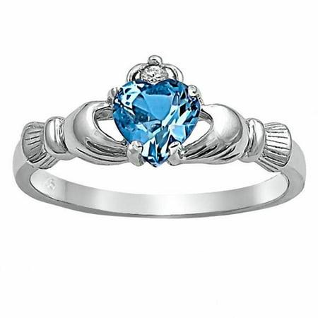 Havana: 0.765ct Heart cut Simulated Blue Topaz Ice CZ Claddagh Ring Sterling Silver sz 6.0
