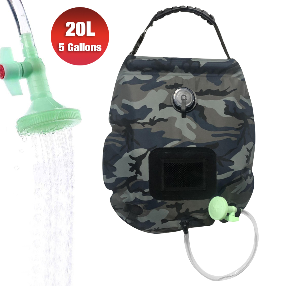 Lemcool Camping Solar Shower Bag Portable Solar Heating 5 Gallons//20L with On-Off Switchable Shower Head for Outdoor Traveling Hiking