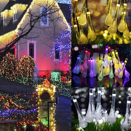 50 Led Solar String Lights Patio Outdoor Decor Crystal Fairy Water Drop Lamp Light For Garden Bedroom Christmas Party Wedding Decorative Plug